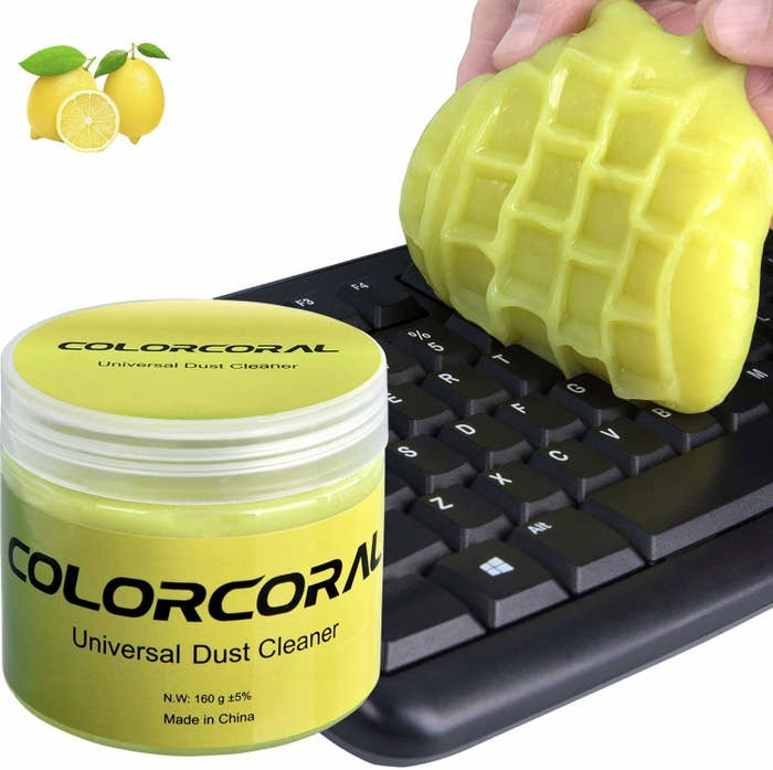 A gel molded into the shape of the keyboard to pick up dust on it