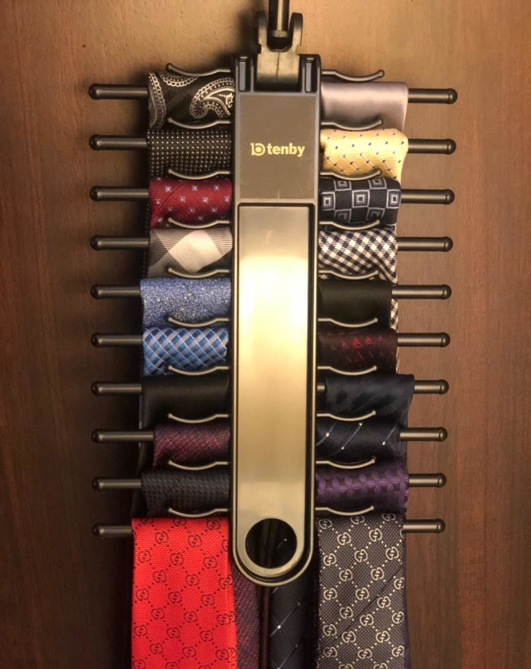 A reviewer's ties on the hanger