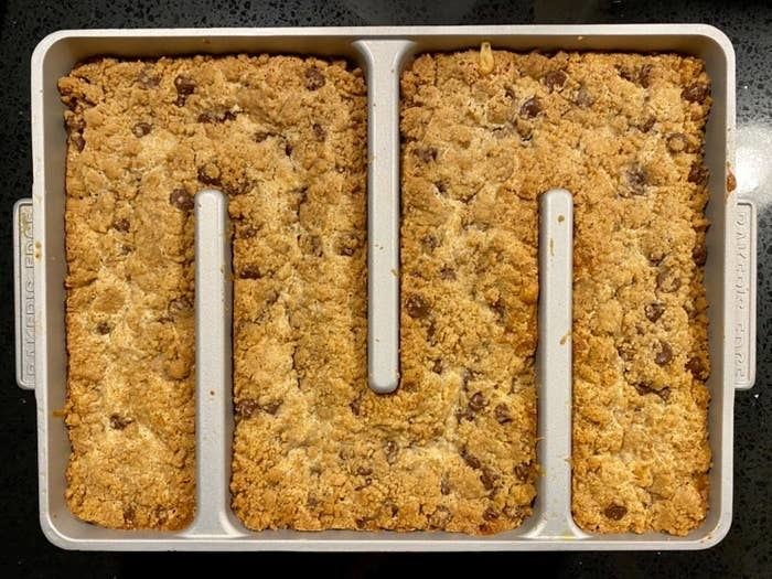 a reviewer photo of a baked treat made using the pan