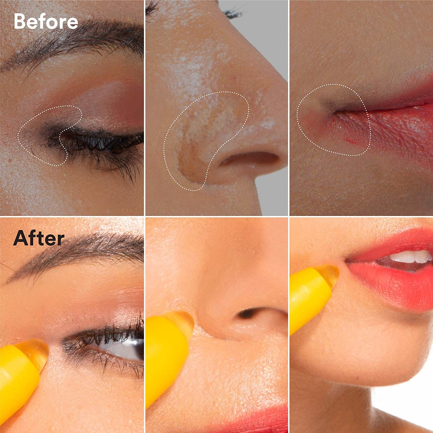 "Above: The text ""Before"" and makeup smudges on a model's eye, nose, and mouth. Below, the text ""After"" and the yellow, pen-shaped tool swiping away all the smudges"