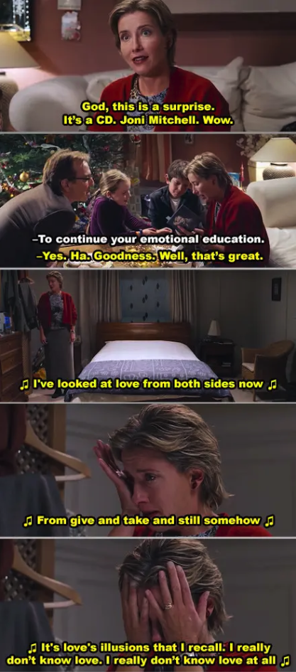 """Emma Thompson's character crying in her room in """"Love Actually"""""""