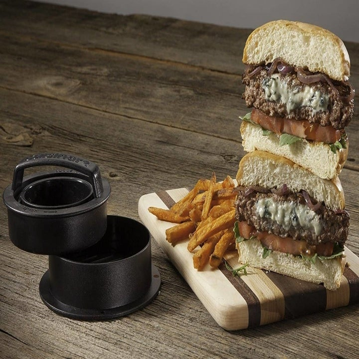 a stuffed burger that is made using the press
