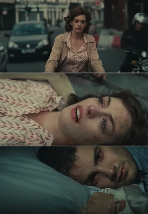 Anne Hathaway's character getting hit by a truck