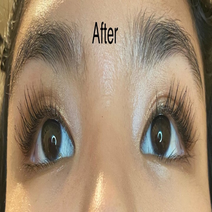 After photo of the same reviewer showing the lash comb separated clumps so their lashes look long and fluttery
