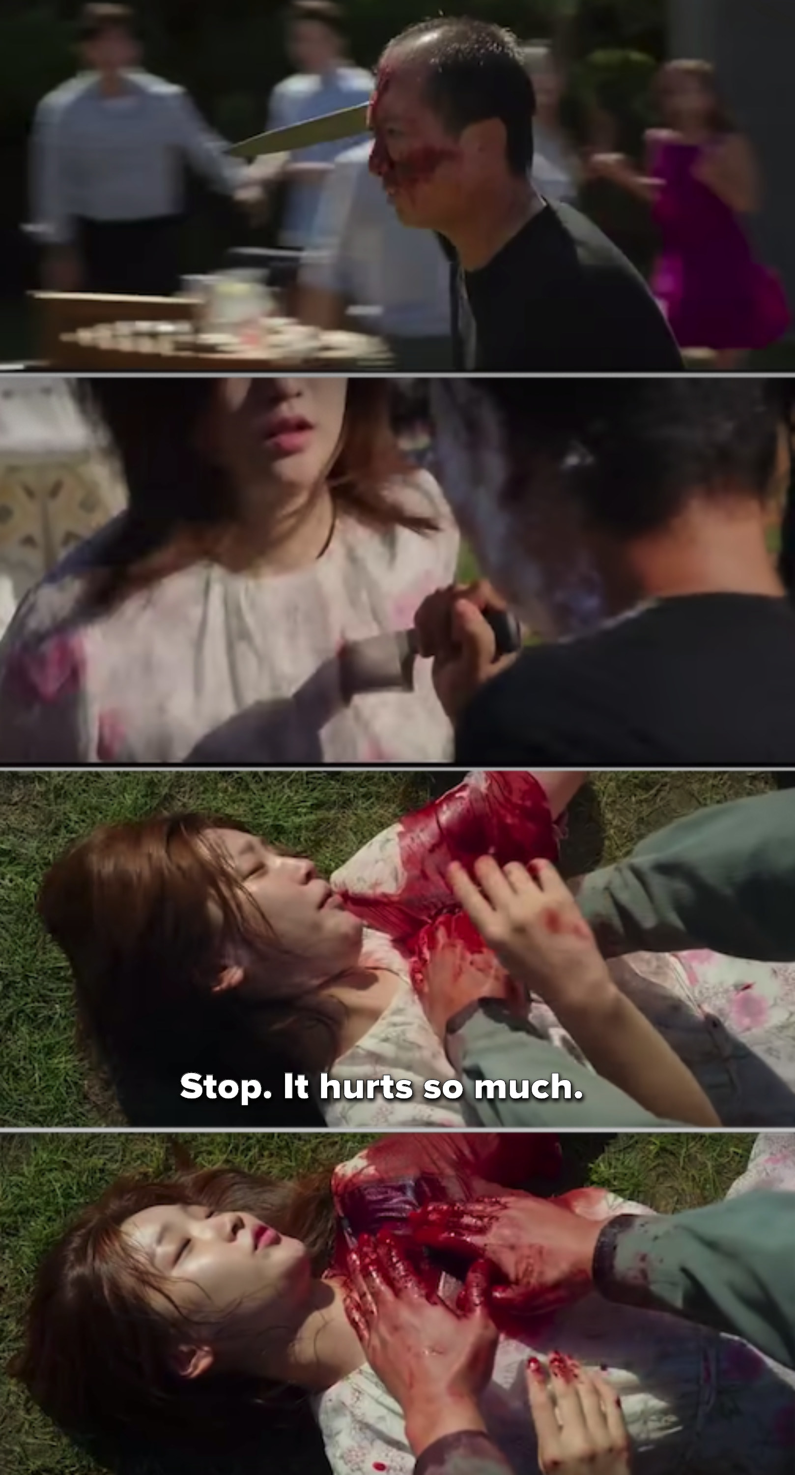 Ki-Jung getting stabbed and lying on the ground