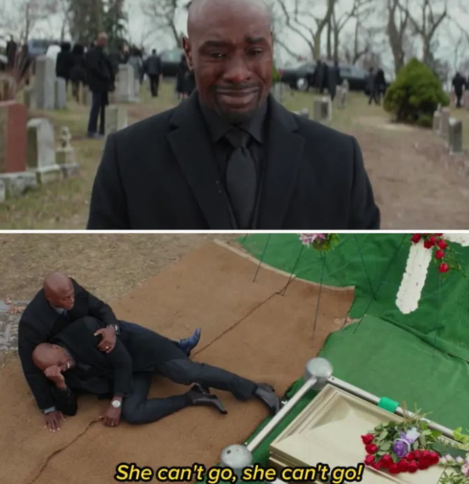 Lance crying at the funeral