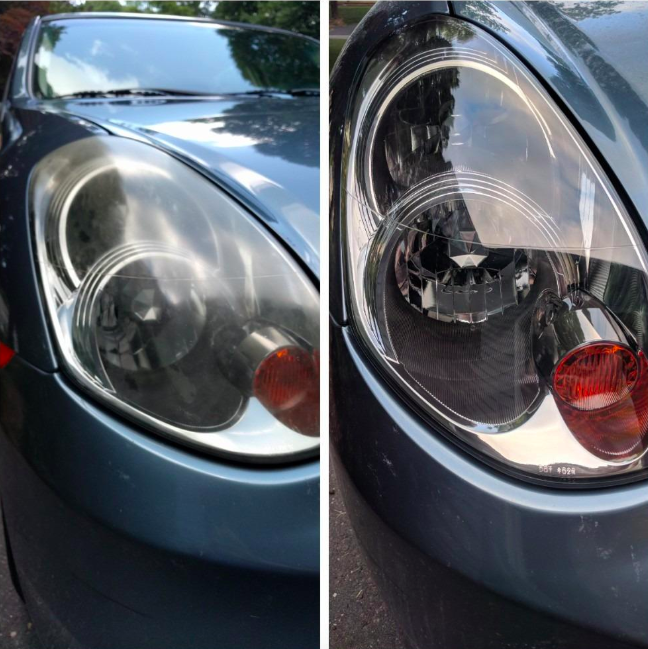 reviewer before and after images; before their headlight is cloudy and dirty, after is clear and clean
