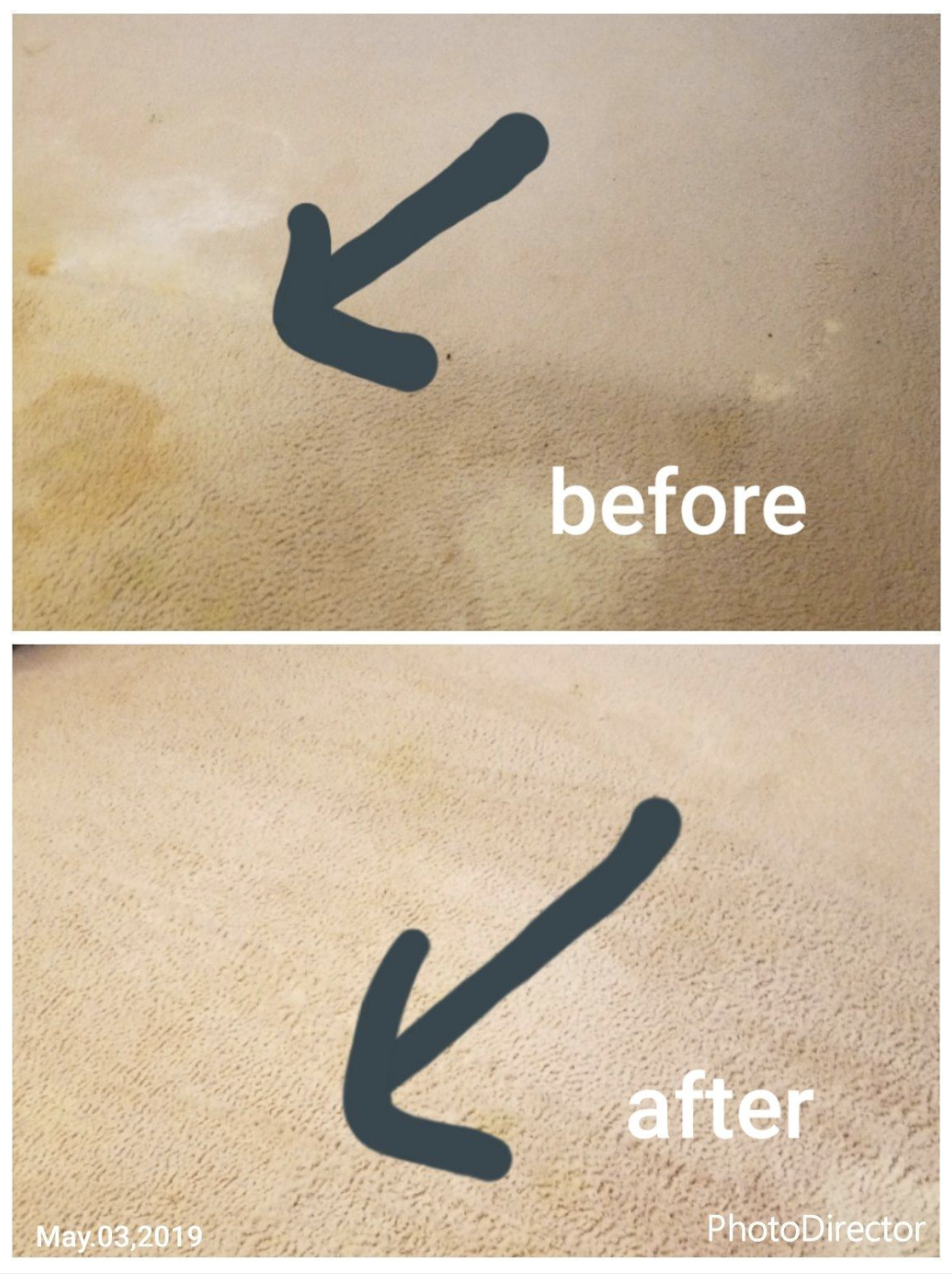 "Top photo shows a pets tinkle time evidence in a reviewer's carpet while the bottom ""after"" photo shows the same reviewer's carpet cleared up after the cleaner. Someone's probably getting their security deposit back."