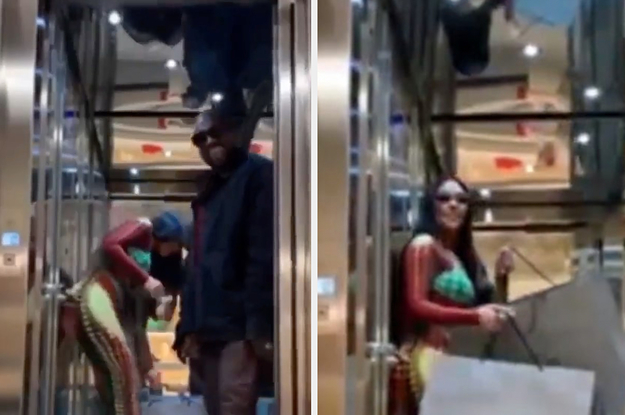 Kanye Is Getting Dragged For Leaving Kim Kardashian In An Elevator To Carry All The Bags