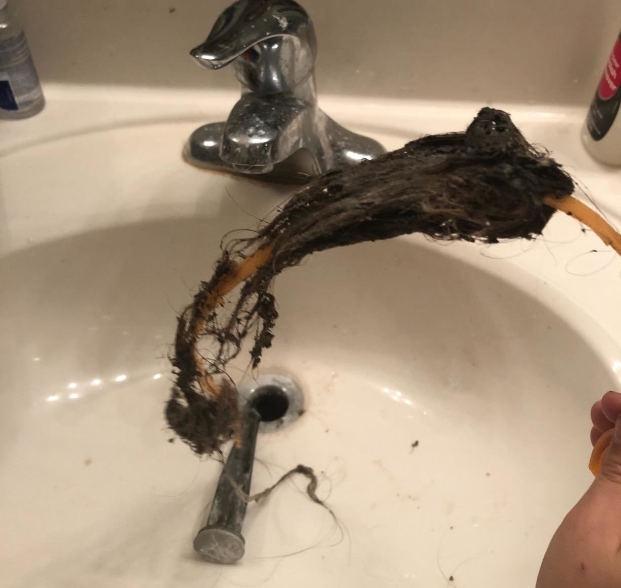 Reviewer photo showing a large clump of hair pulled out from the sink drain
