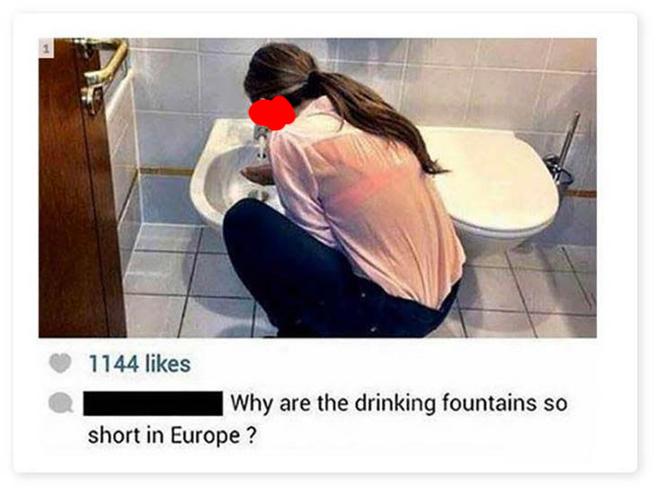 Picture of a woman drinking out of a bidet
