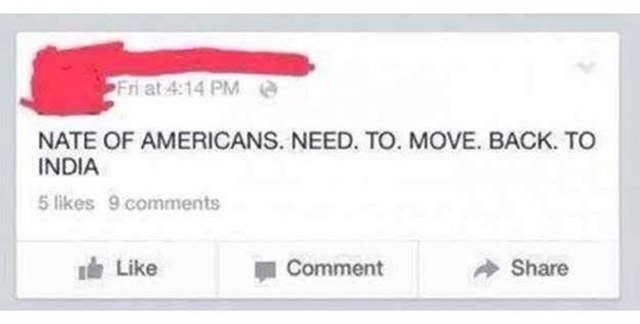All caps Facebook post reading nate of americans need to move back to india