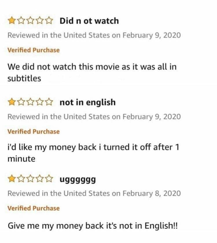 Amazon reviews of people upset a movie it subtitled
