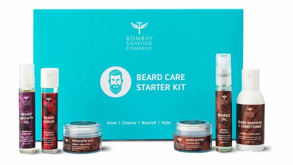 A starter kit that includes Beard Growth Oil, Beard Serum, Moustache Wax, Beard Butter, Stubble Oil, and Beard Shampoo and Conditioner