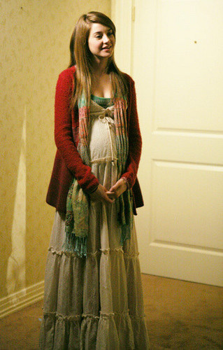 Long, layered, sheer-ish maxi dress with a tie in the center of the V-neck and a long scarf and cardigan with a tank underneath
