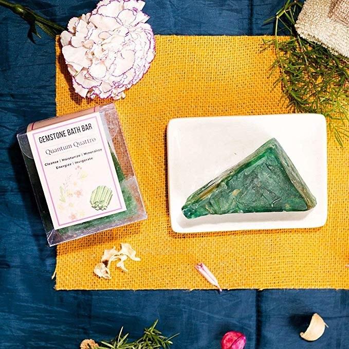Green triangular gemstone soap bar.