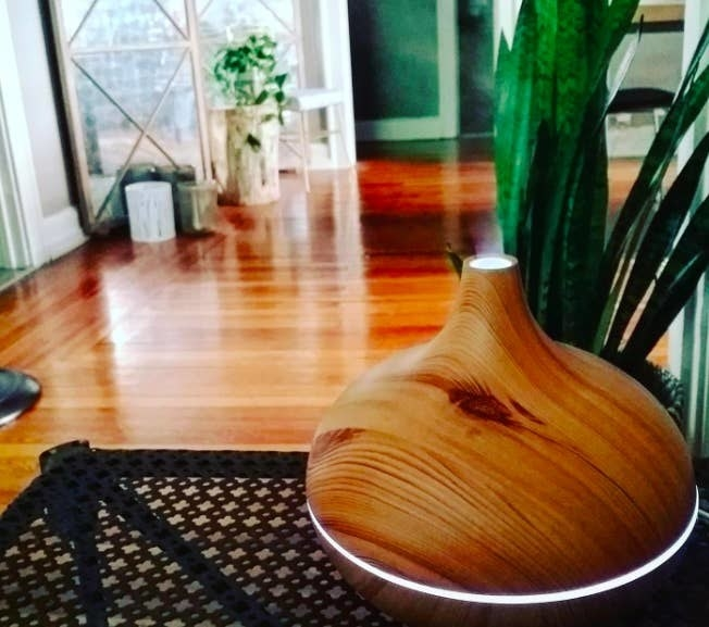 a reviewer photo of the aromatherapy diffuser