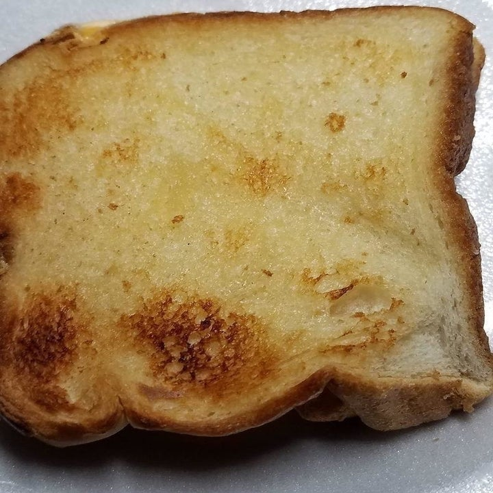 a reviewer photo of the grilled cheese made using the toaster bags