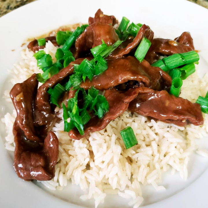 a reviewer photo of beef and rice that was made in the instant pot