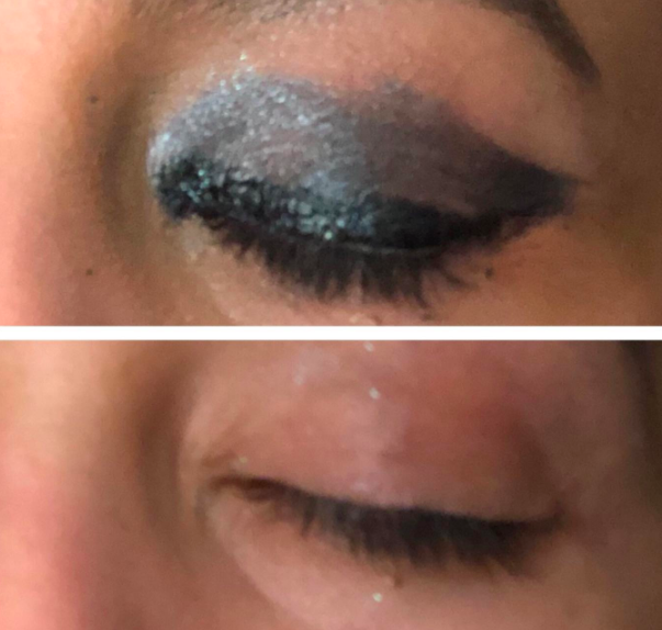 before and after of reviewer with heavy eye makeup that is then taken off with the cloth