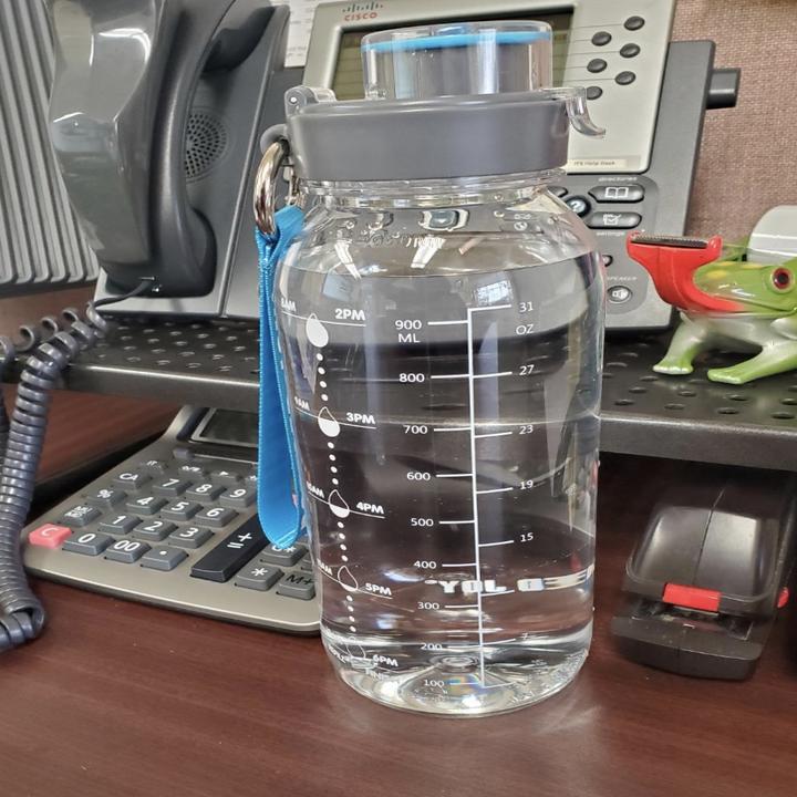 same water bottle on a desk