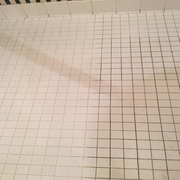 A side-by-side reviewer photo of dirty tile and much cleaner, whiter tile