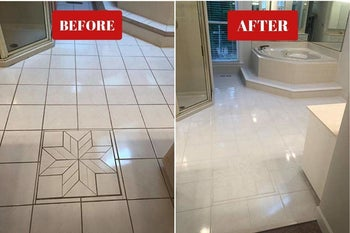Another before and after of dirty tile and much cleaner, shinier tile
