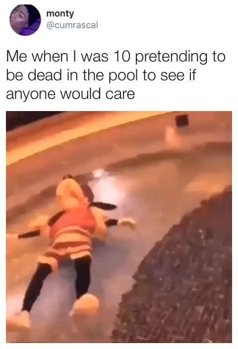 """Tweet with Goofy lying in water with the text """"Me when I was 10 pretending to be dead in the pool to see if anyone would care"""""""