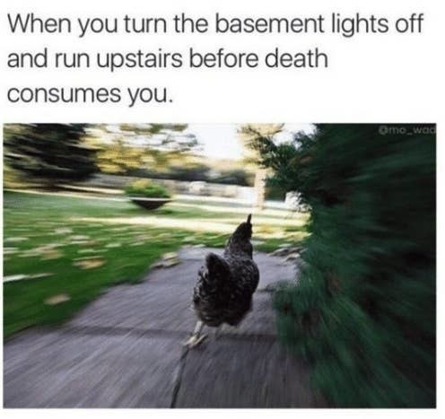 "Picture of a chicken running with the text ""When you turn the basement lights off and run upstairs before death consumes you"""