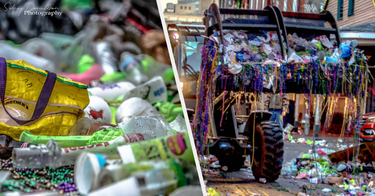 This Photographer Captured The Amount Of Trash That Was In The Streets After Mardi Gras And It's Upsetting To See