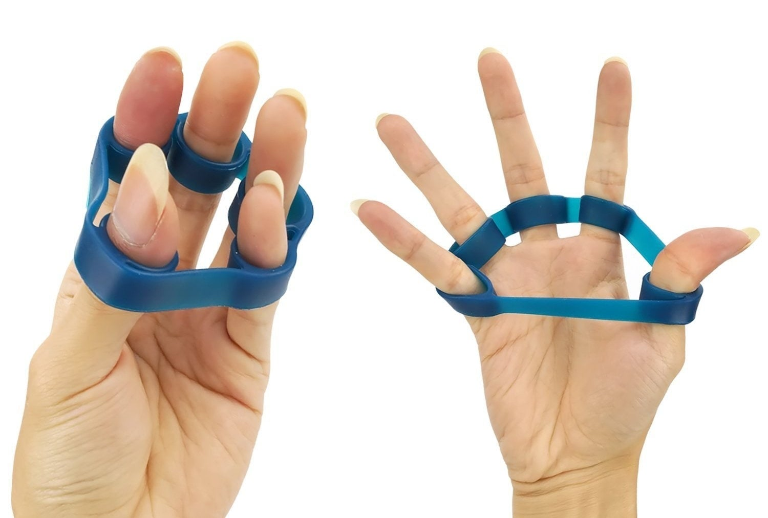 A hand stretching its fingers using the resistance band.