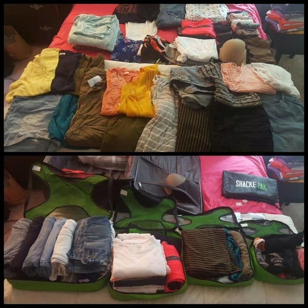 reviewer photo showing a huge pile of clothes and then how nicely they're organized and fit into the four green packing cubes