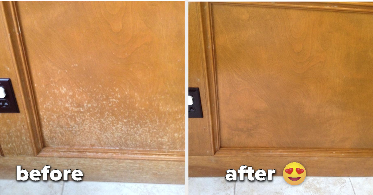 A before shot of a water-stained cabinet and an after shot of it treated with polish and the stains virtually gone