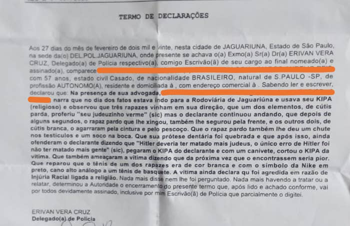 The victim's statement to the Jaguariúna police. - Reproduction / Personal archive