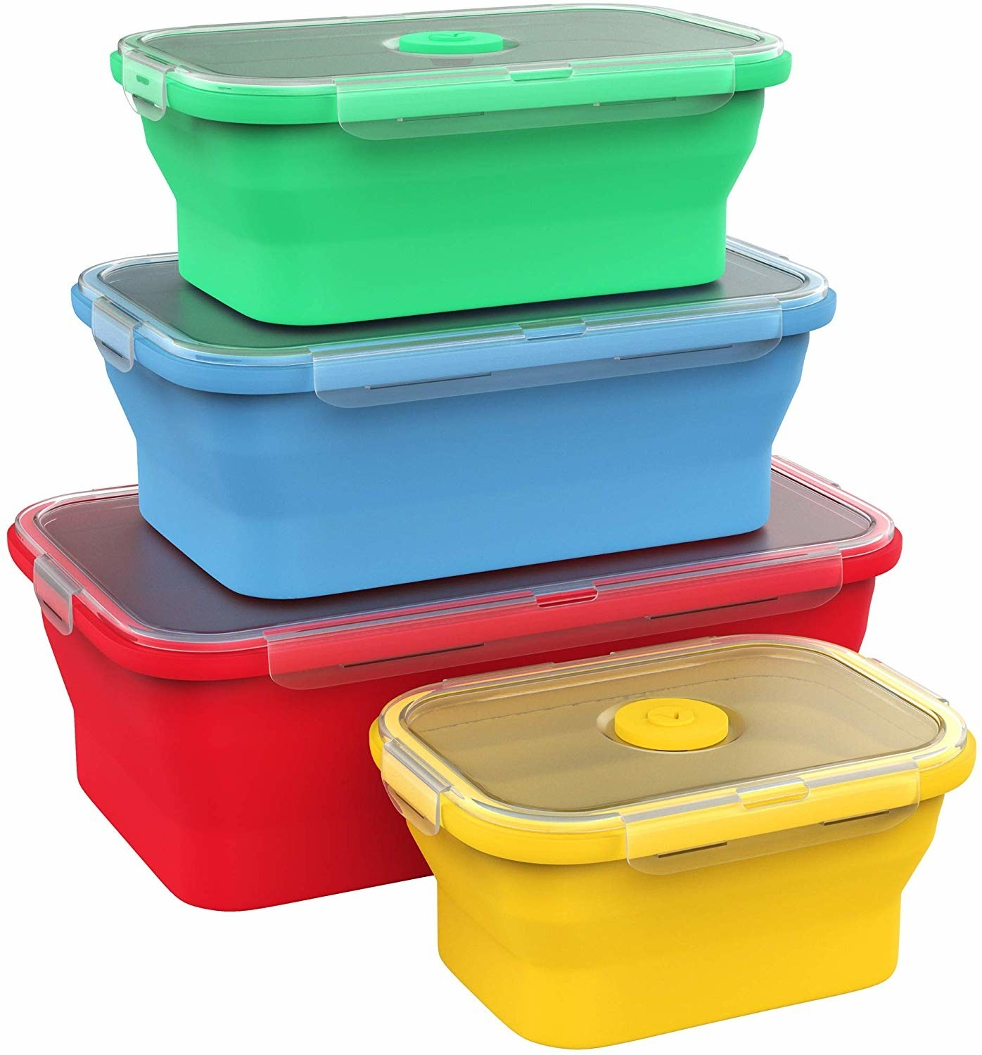 stack of four containers that decrease in size; largest is red, second-largest yellow, second-smallest green, and smallest red
