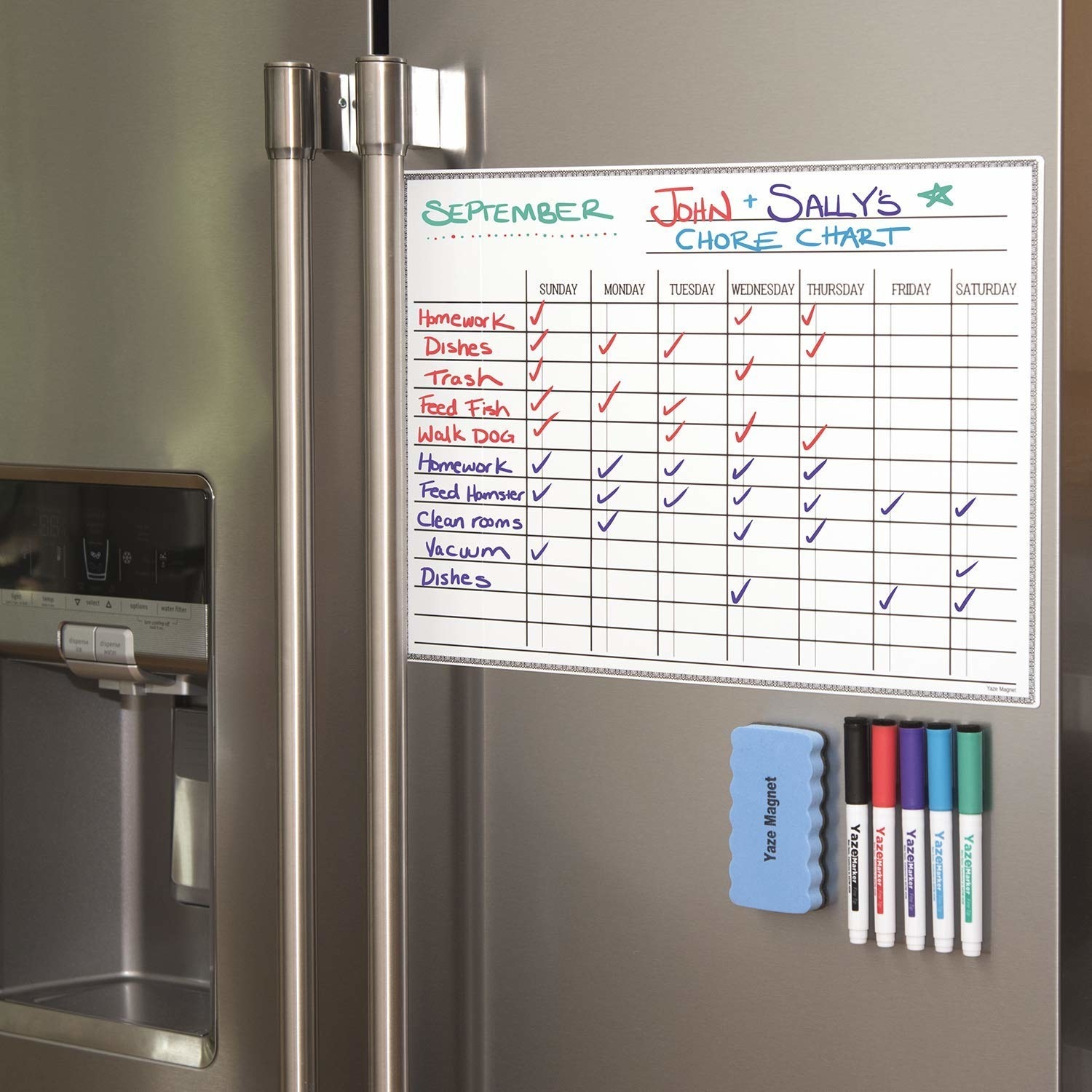 A chart on a fridge along with an eraser and dry-erase markers lined up underneath it. The chart has a list of chores to be done and the week day they're due