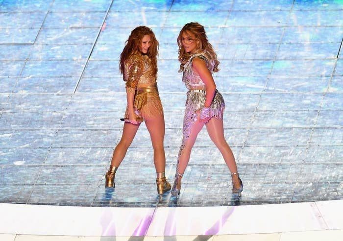 Jennifer Lopez and Shakira perform during the halftime show of Super Bowl LIV.