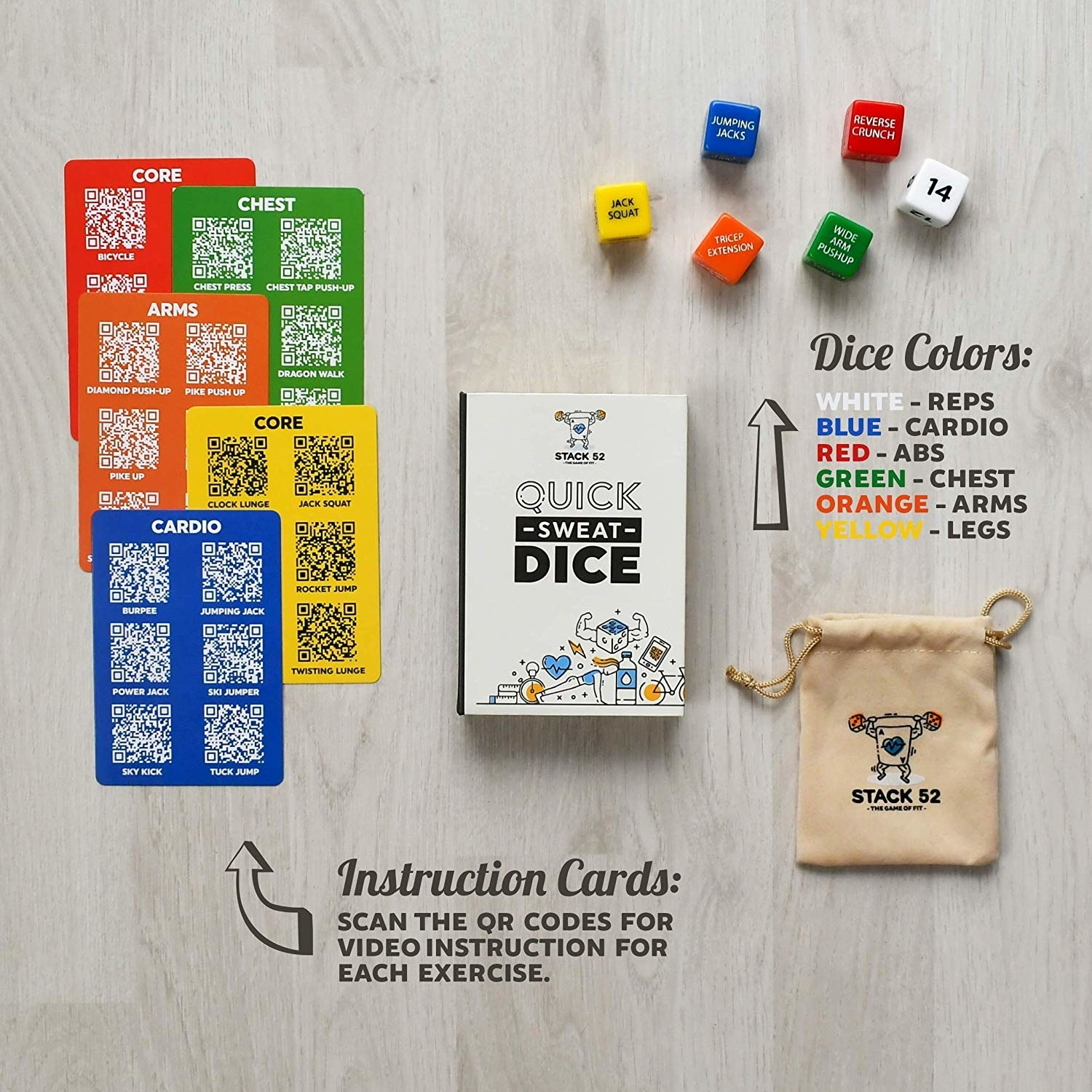 Instruction cards with QR codes and six dice, each in a different color