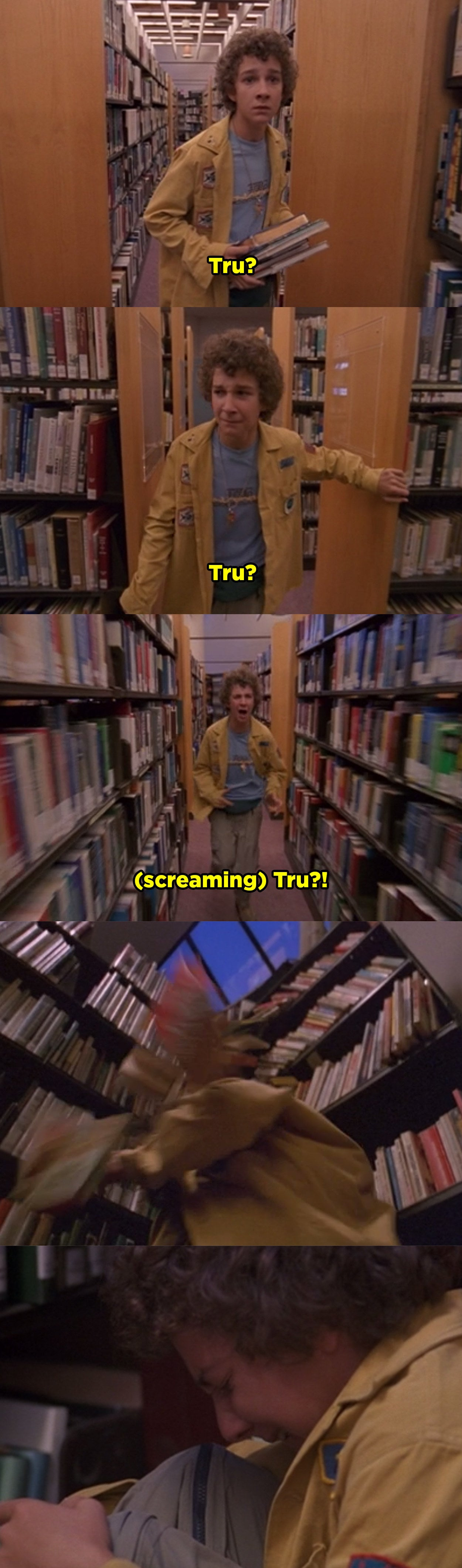 Eddie accidentally gets lost in the library and can't find his sister so he starts to panic and scream.
