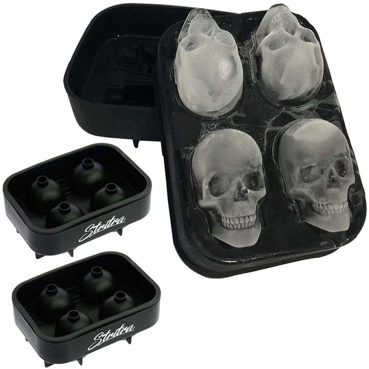 Skull shaped ice cubes in a mold