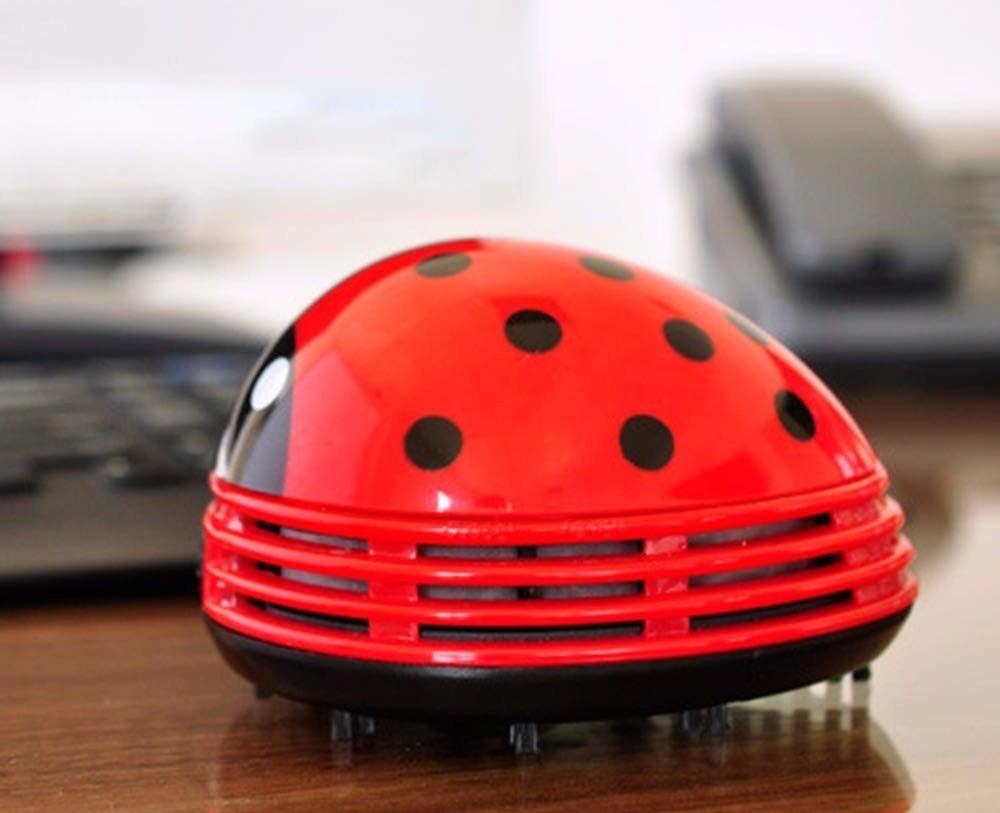 Ladybug-shaped mini vacuum placed on desk