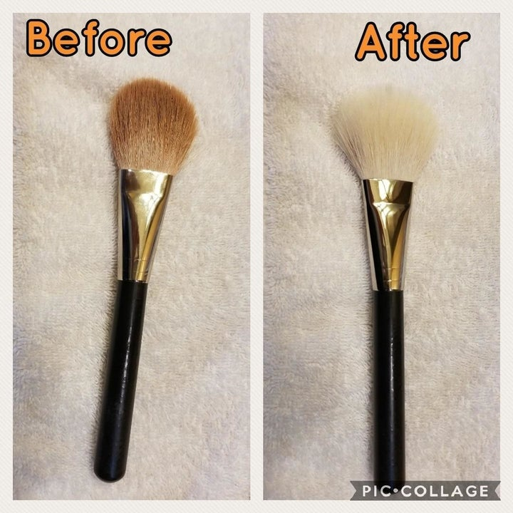 Reviewer before and after image of a dirty brush