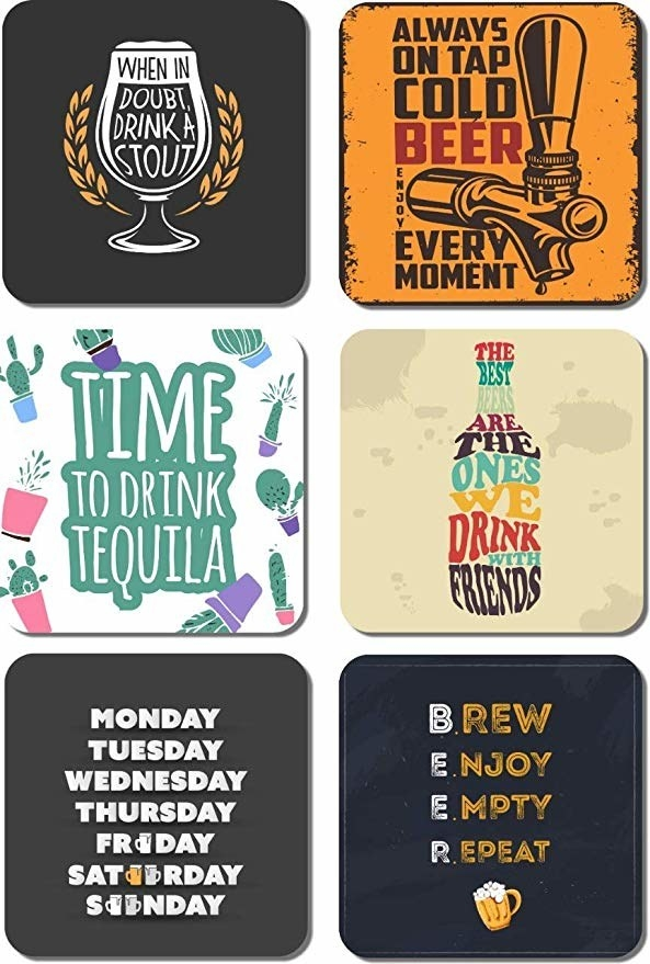 Coasters with drinking-related quotes on them