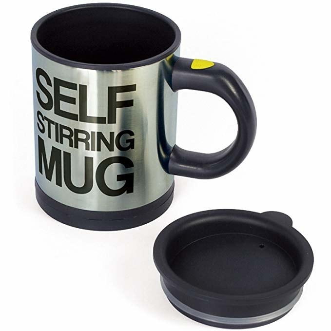 "A gray and black mug and base, with the words ""Self Stirring Mug"" written on it"