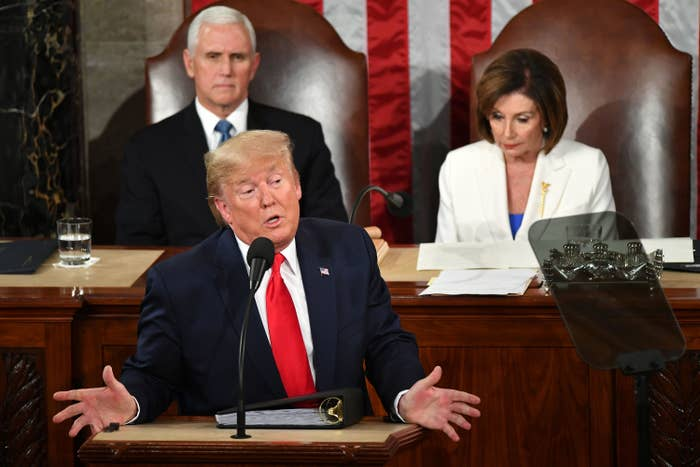US President Donald Trump delivers the State of the Union address.
