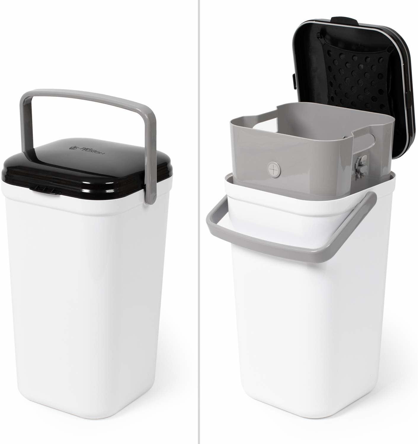 Office trash sized canister with removable tub, handle, and lid