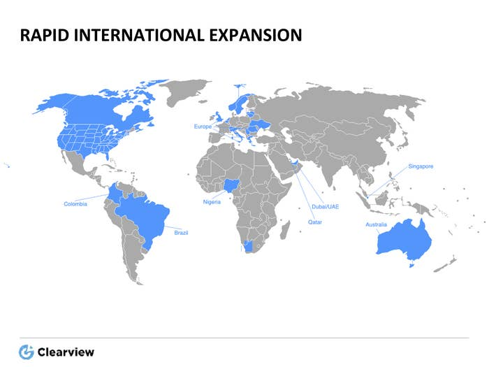 "Map highlighting countries Clearview included in its ""rapid international expansion"" plan to prospective clients."