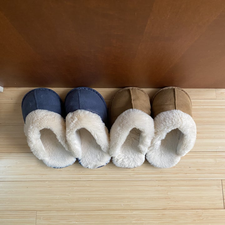The slide slippers in blue and tan