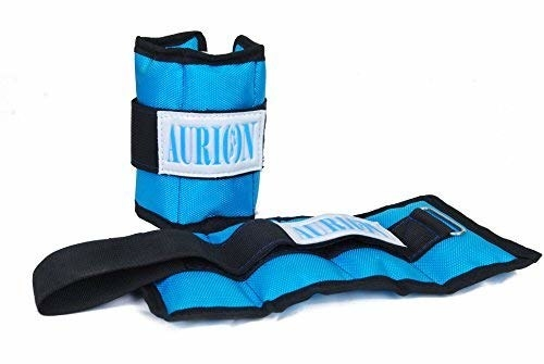 A pair of weighted blue wrist bands