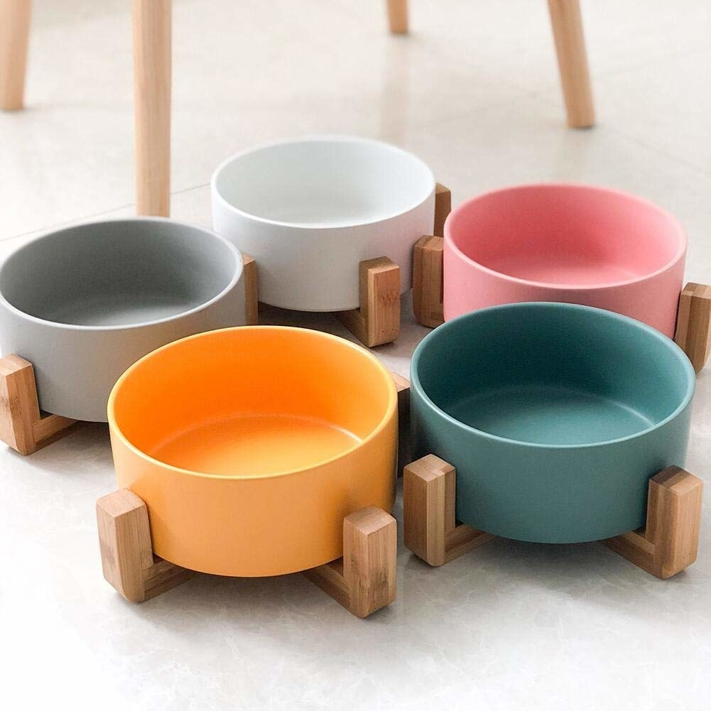 Colorful bowl with wooden leg base